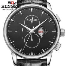 Switzerland men's watch luxury brand Wristwatches BINGER 18K gold Quartz watch leather strap Chronograph waterproof BG-0404-8