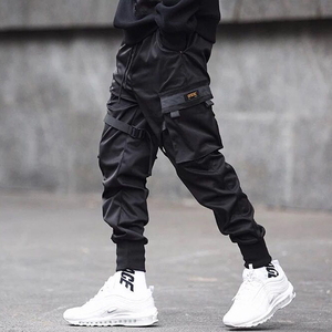 Image 3 - Men Ribbons Color Block Black Pocket Cargo Pants 2019 Casual Fashion Harem Joggers Harajuku Sweatpant Hip Hop Trousers LA8P36