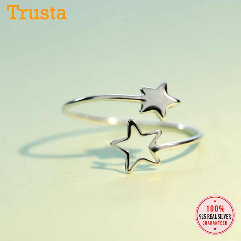 Trusta 2019 Новинка 100% Настоящее серебро 925 пробы Модные женские кольца 2 звезды Размер 5 6 7 прекрасный подарок для девочек подростков леди DS587