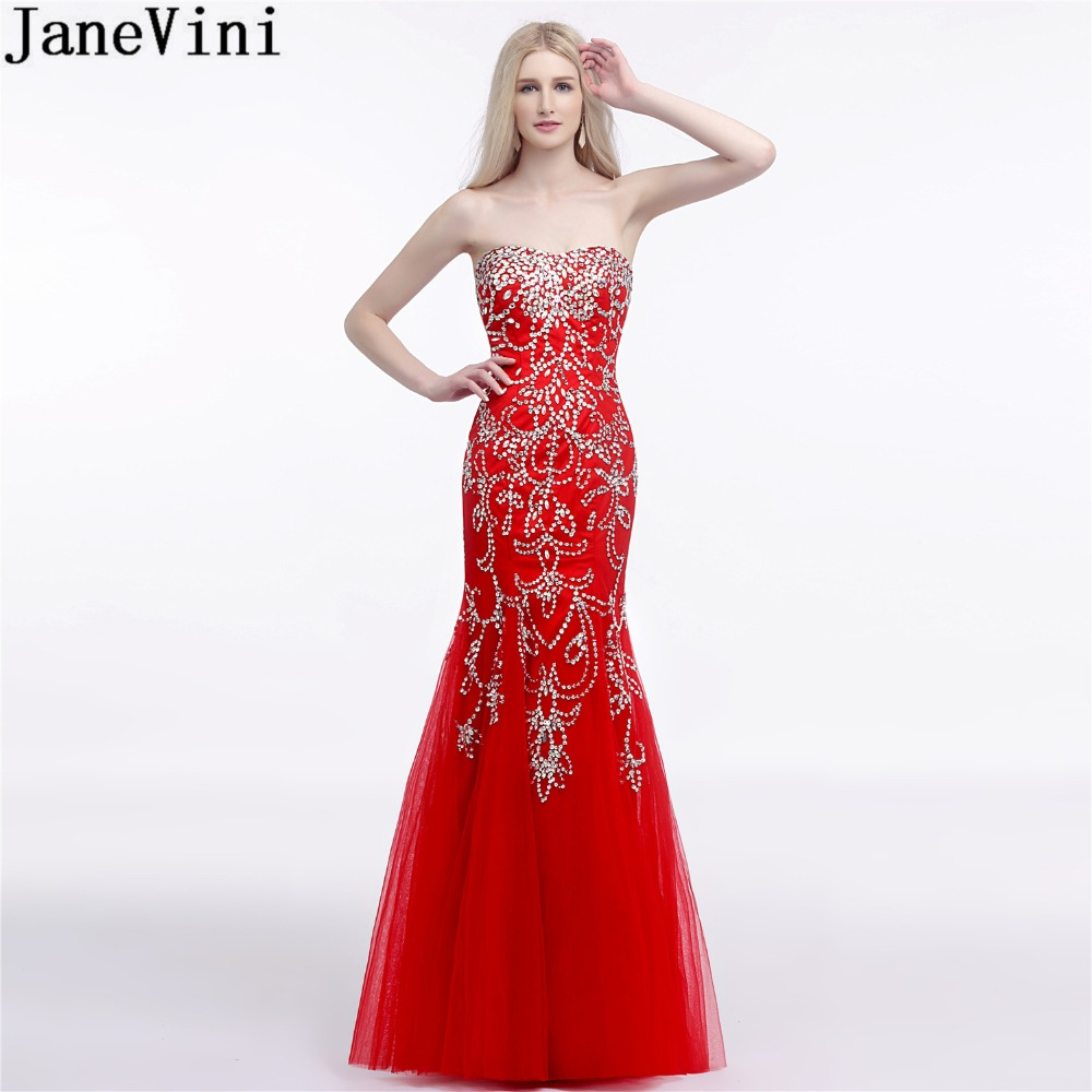 JaneVini Shiny Sequins Mermaid Formal   Bridesmaid     Dress   Long Red Ladies Wedding Party   Dresses   Tulle Floor Length Prom Gown 2018