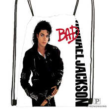 Custom michael-jackson  Drawstring Backpack Bag Cute Daypack Kids Satchel (Black Back) 31x40cm#180611-03-111