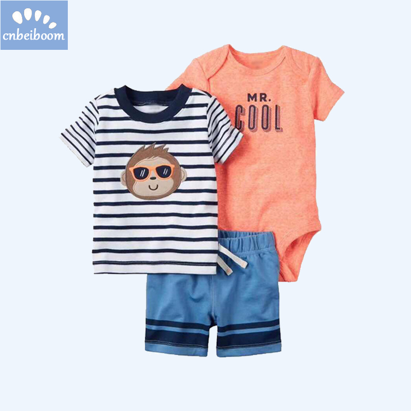 3-Piece sets boys baby clothing sets rompers + short + t shirt set stripe cartoon monkey kids boy infant newborn casual costume
