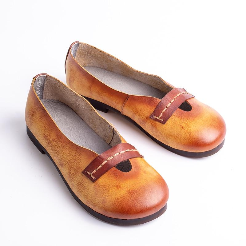 Azul Casuales Super Venta Natural Cuero Animal Nueva Mocasines Planos Correa Zapatos Dama Mujer naranja Suave De Llegada qvwFZBq