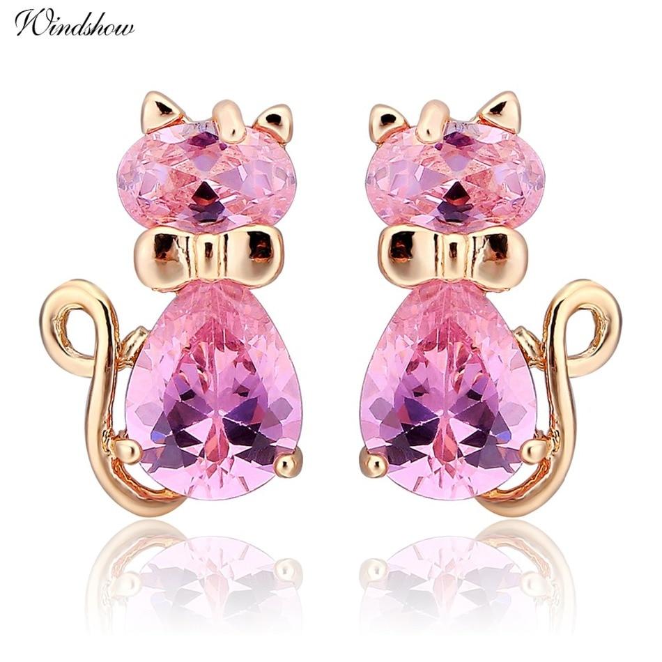 Cute 5colors CZ Bow Knot Kitten Gato Kitty Cat Stud Earrings for ...