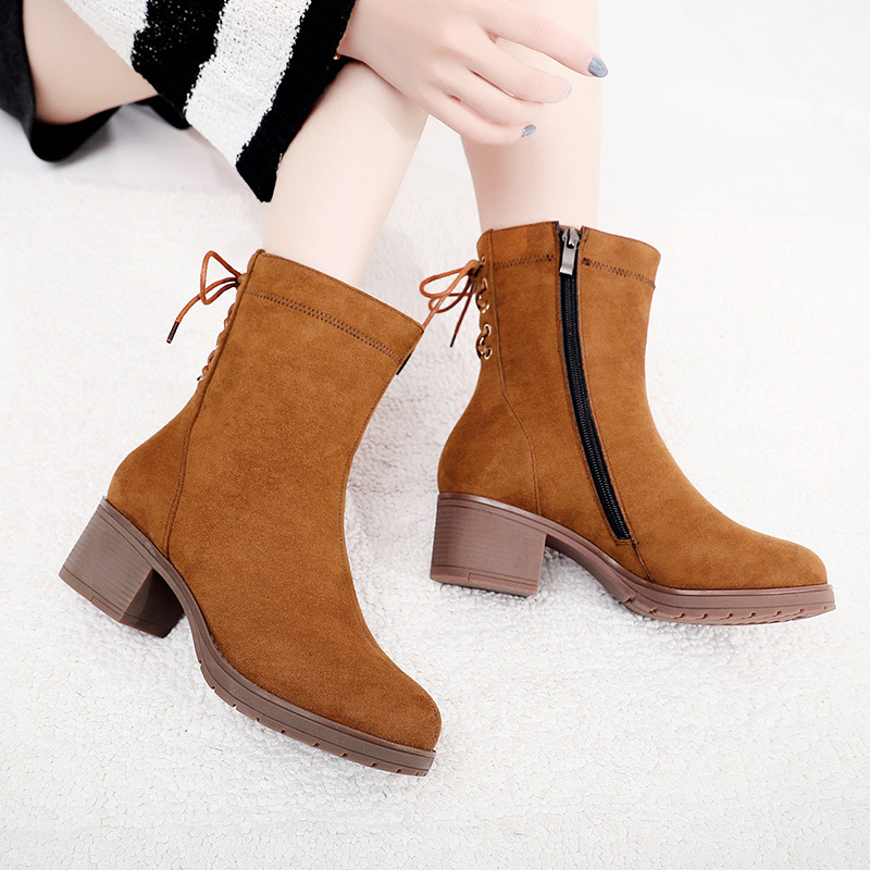 0afea2bcd1c Aliexpress.com   Buy Plus Size 33 43 Block Heels Bow Faux Suede Ankle Boots  Women Shoes 2018 Winter Med Heel Platform Boots Ladies Botas Black from  Reliable ...