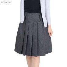 Зимняя женская юбка, осенняя, модная, на молнии, закрытая, ампир, мини, короткая, плиссированная, Falda, женская, базовая, утолщенная, теплая, шерстяная, юбки