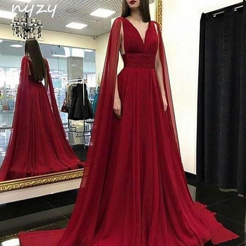 NYZY E1 Formal   Dress   Women Elegant Chiffon V Neck Cape Long Sleeves Robe Soiree Dubai Arabic   Evening     Dress   Burgundy
