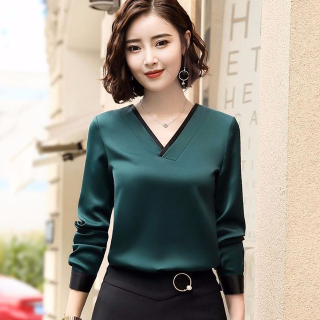 Women Chiffon Blouses V-Neck Zipper OL Long Sleeves Loose Shirt Blouse Blusa Feminina elegant solid color Plus Size DD2353 6