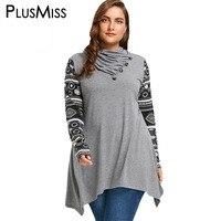 PlusMiss Plus Size 5XL Heaps Collar Vintage Ethnic Blouse Shirt Women Autumn Winter 2017 Long Sleeve