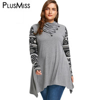PlusMiss Plus Size 5XL Heaps Collar Vintage Ethnic Blouse Shirt Women Autumn Winter 2017 Long Sleeve