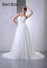 2017 Real Photos Sweetheart Feathers A-Line Wedding Dresses Pleats Floor-Length Chapel Train Long Bridal Gowns