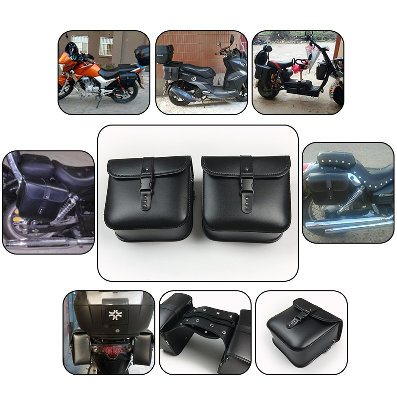 2PCS NEW Modified Motorcycle Bike Electric Bicycle Scooter PU Leather Saddle Bags Saddlebag Side Tool Storage Pouches for Harley bjmoto for harley motorcycle saddle bags cruiser moto bike side storage tool pouches side saddlebag luggage bag tool side bag