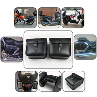 2PCS NEW Modified Motorcycle Bike Electric Bicycle Scooter PU Leather Saddle Bags Saddlebag Side Tool Storage