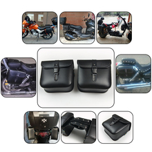 2PCS NEW Modified Motorcycle Bike Electric Bicycle Scooter PU Leather Saddle Bags Saddlebag Side Tool Storage Pouches for Harley