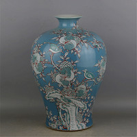 Antique QingDynasty porcelain vase,Pastry flowers & bird pomegranate bottle,hand painted crafts,Decoration,Collection&Adornment