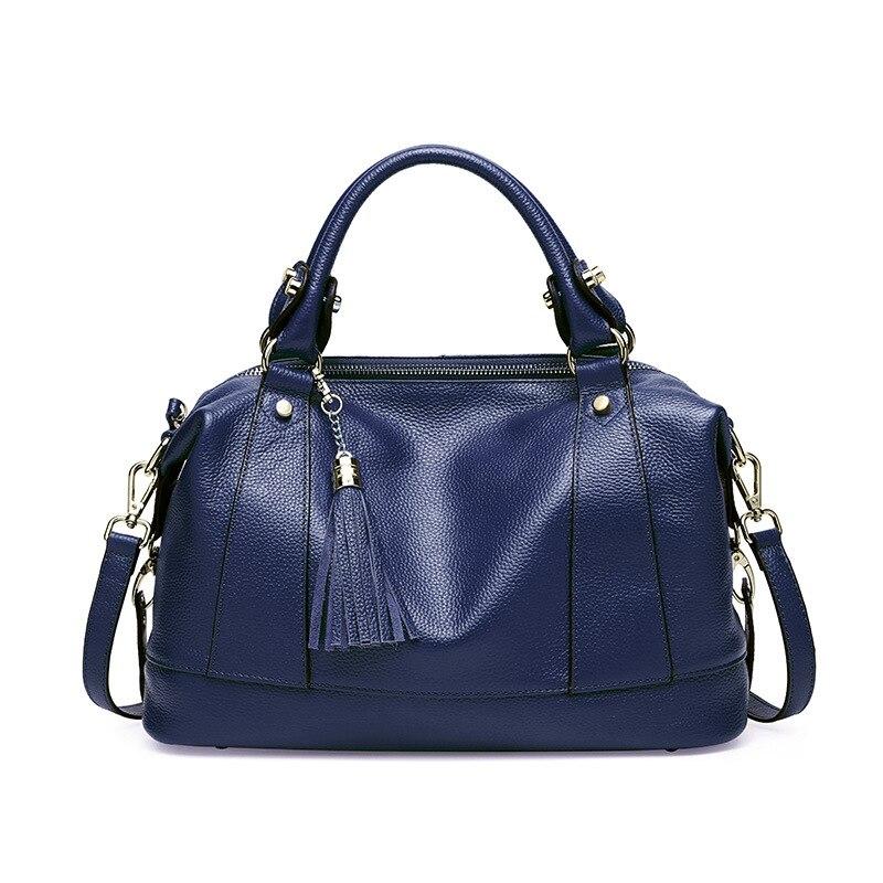 Sac à bandoulière Messenger de luxe pour femme sacs à bandoulière d'été pour femme sacs à main et sacs à main en cuir véritable sac fourre tout noir gland 2019 - 6