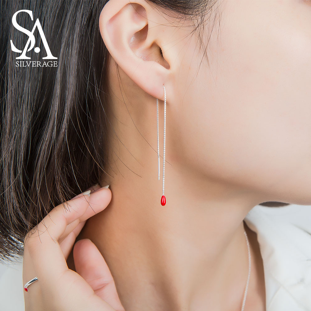 SA SILVERAGE Trendy Menjuntai Earrings Nyata 925 Sterling Silver Red Glaze Drop Earrings Wanita Drop Partai Anting Garis