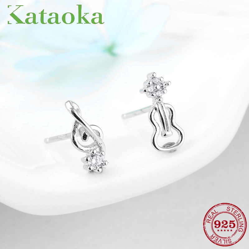 Love music 925 Sterling Silver guitar and musical notes Stud Earrings for Women Jewelry with Clear CZ earrings Handmade Gift