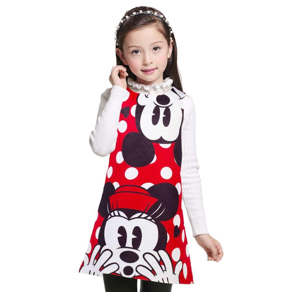 3-12 Years girl summer cartoon dress kids clothes girl Minnie printing dot sleeveless dress princess baby girls party costume