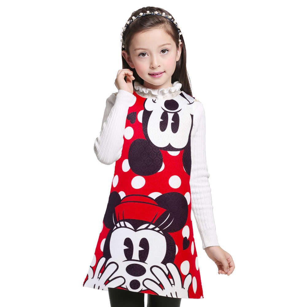 3-12 Years girl summer cartoon dress kids clothes girl Minnie printing dot sleeveless dress princess baby girls party costume
