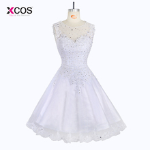 Elegant Sleeveless Short Wedding Dress Knee Length Tank Bridal Gowns Beaded Prom Gown Appliqued Bride
