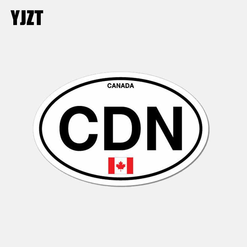 YJZT 11CM*6.9CM Motorcycle Decal CDN Canada Country Code Oval Flag Car Sticker 6-2642