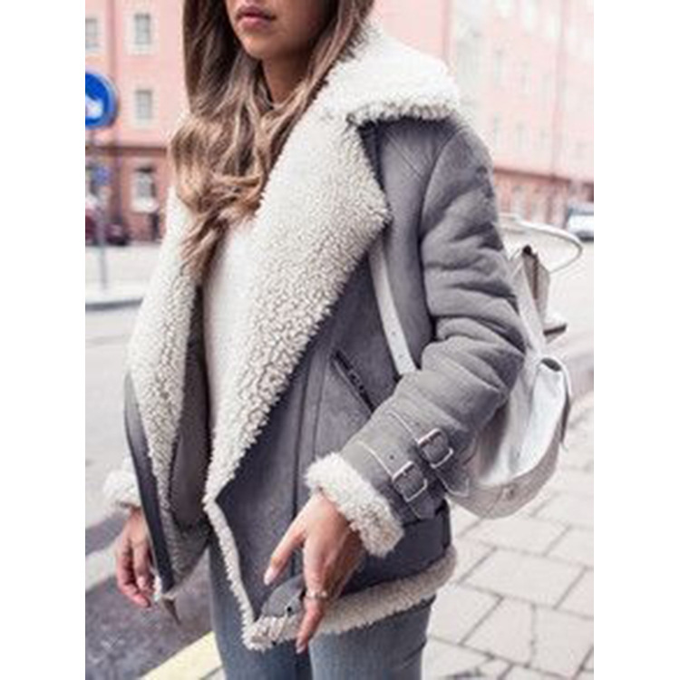 Women Faux   Suede   Fur Coats Motorcycle Biker Jacket 2019 Autumn Winter Warm Lamb Wool Coat Plus Size Female Lapel Zipper Outwear