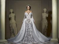Eslieb Illusion High end sexy Wedding Dress 2019 Button back Long Sleeves Wedding Dresses Made In China