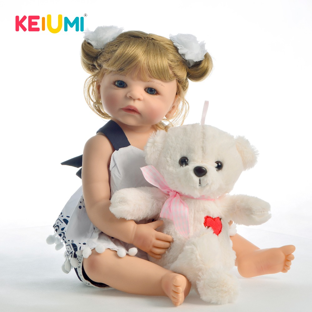 New Desgin Full Silicone Reborn Baby Dolls 22 Inch 55 CM Baby Reborn Girl Toys For Toddler Playmate Kids Birthday Gift With BearNew Desgin Full Silicone Reborn Baby Dolls 22 Inch 55 CM Baby Reborn Girl Toys For Toddler Playmate Kids Birthday Gift With Bear