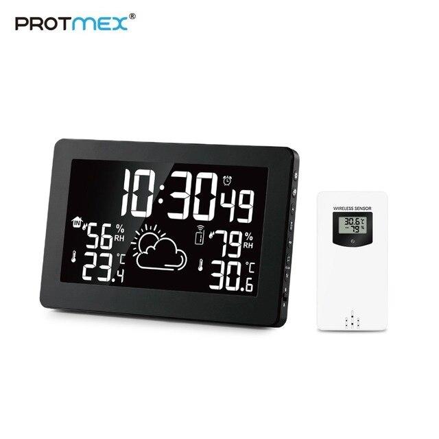Protmex PT3378A شاشة ملونة محطة الطقس ، في الأماكن المغلقة في الهواء الطلق ميزان الحرارة الرقمي اللاسلكي مقياس الحرارة