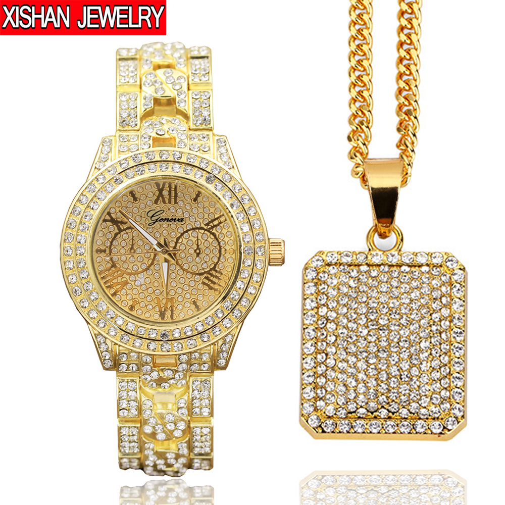 Mens Luxury Full Of Shiny Stones Hip Hop Iced Out Watch & Iced Square Dog Tag Necklace Combo Set