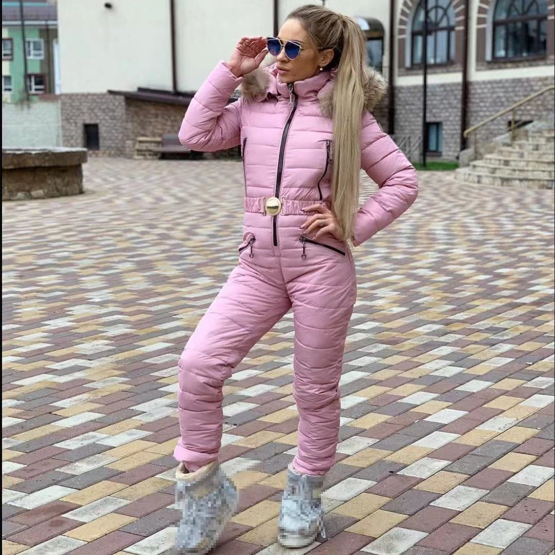 New Winter Warm Thick Jumpsuits Parka Hooded Padded Sashes Casual Jumpsuit Zipper One Piece Women Tracksuits