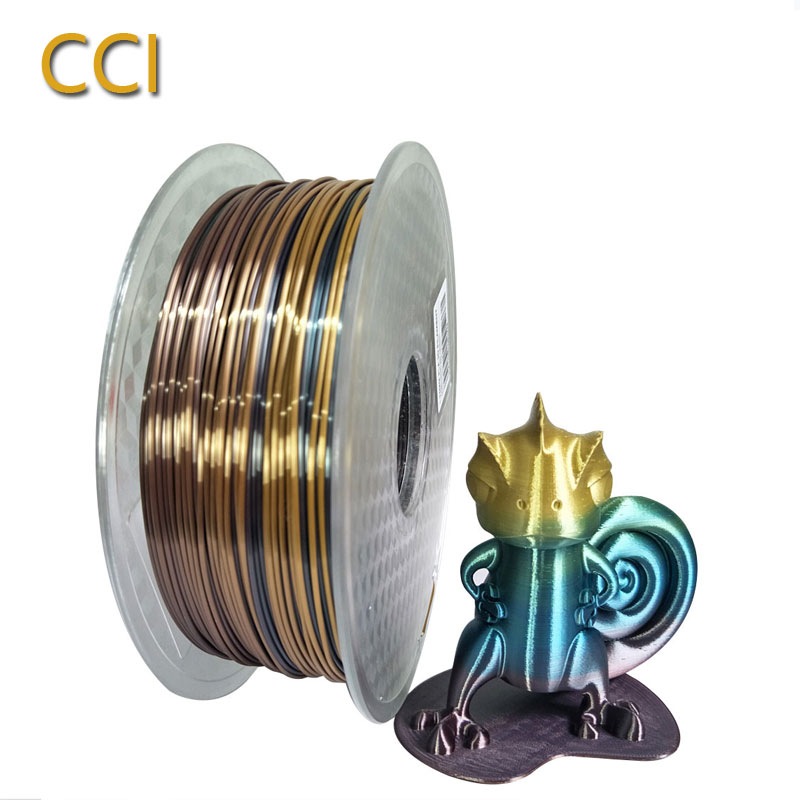 Silk PLA Rainbow 3d Printer Filament 1.75mm 1kg Silky Rich Luster Printing Materials Slik Like Multicolor Ramdon Print Material