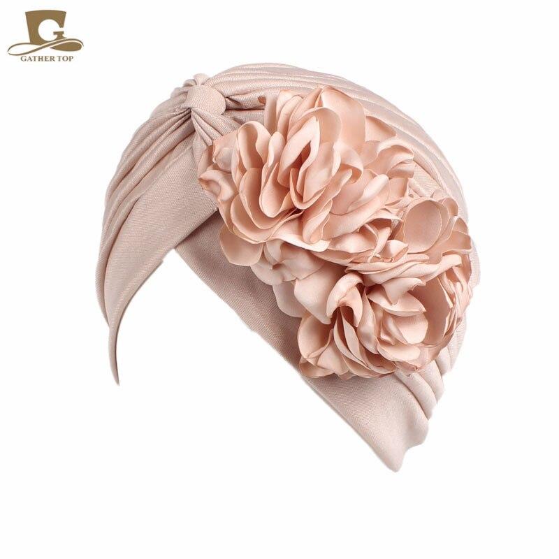 New Vintage Double Flower Beanie Turban Style Hat Women Headbands African Pattern Knot Headwrap