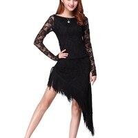 2017 Autumn And Winter Long Sleeved New Latin Dance Dress Adult Women S Dress Tassel Latin
