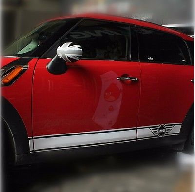 car vinyl decal dual racing graphic stripes stickers side door for mini cooper countryman f56. Black Bedroom Furniture Sets. Home Design Ideas