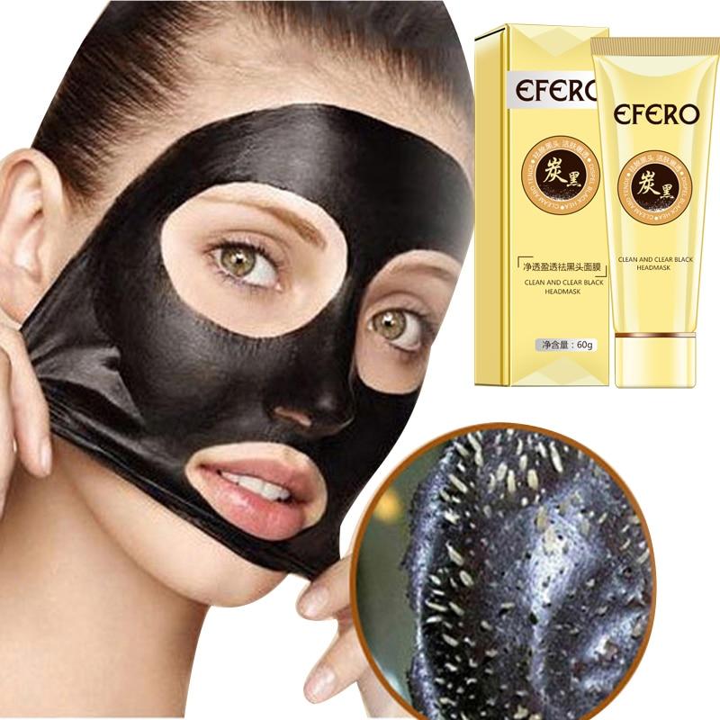 Efero preto máscara facial para cuidados com o rosto poros tira limpador blackmask nariz removedor de cravo descamação máscara tratamento acne máscara facial