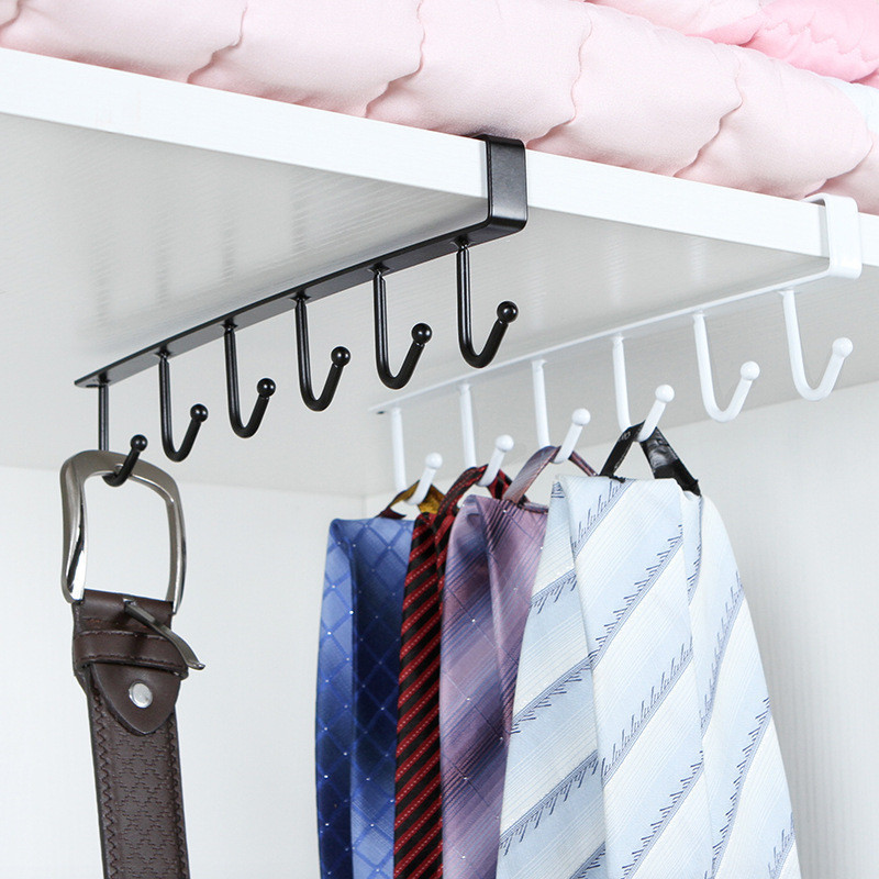 Multifunction Kitchen Cabinet Storage Rack Free Punching Wrought Iron Single Row Cup Storage Rack Wardrobe Scarf Storage Hook
