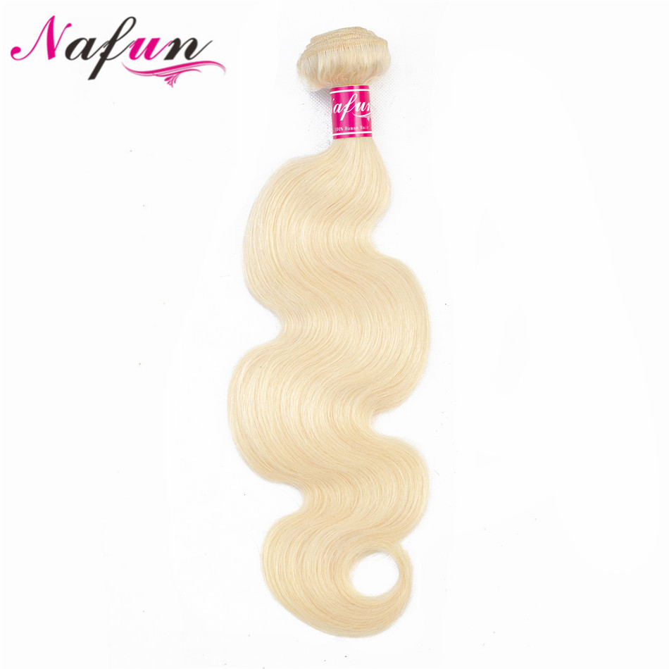 NAFUN Hair Brazilian Body Wave Bouncy Hair Weaves 10-30 Inch 100% Human Hair Non Remy Bundles Double Weft #613 Hair Extensions