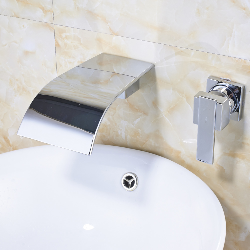 Wall Mount Bathroom Sink Faucet Ceramic Valve Single Handle Dula ...