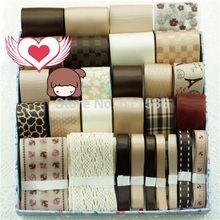 ФОТО retail mix satin ribbon and grosgrain ribbon in ribbons set mix set 29 meters coffee ribbons
