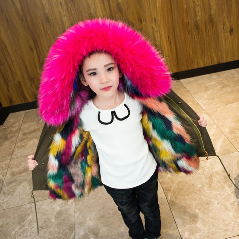 2-12Y Girls Winter Coat Colorful Faux Fox Fur Liner Jackets Boys Outerwear Coat Baby Girl Thick Warm Coat Parkas For Children все цены