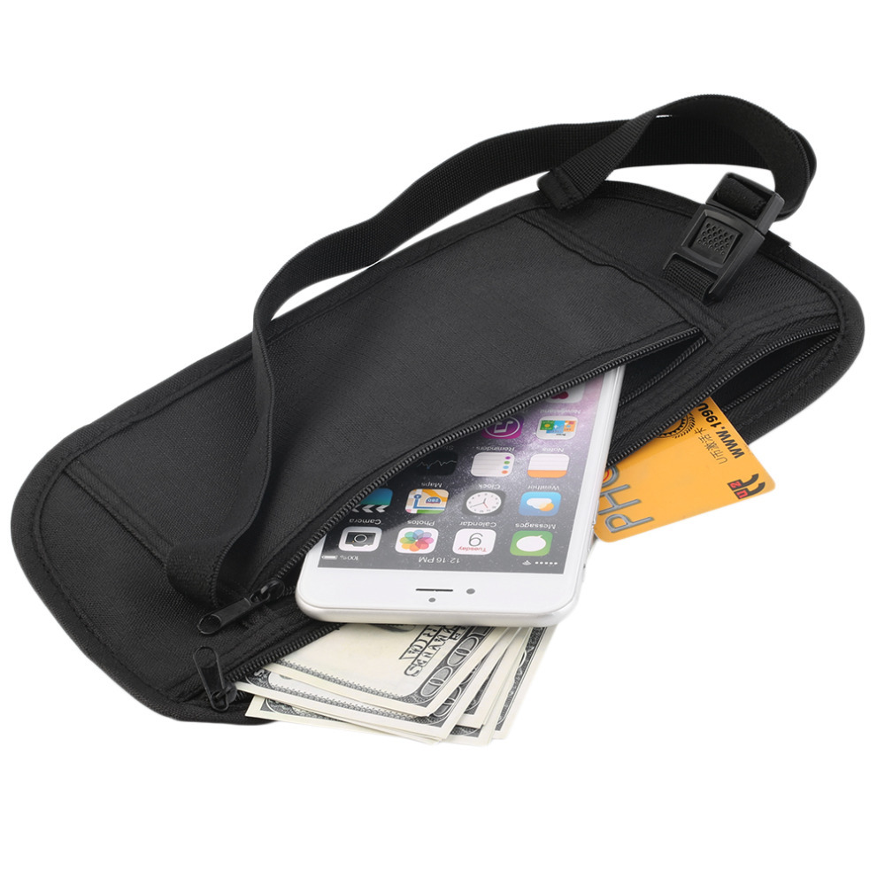 Male Casual Functional Fanny Pack Travel Pouch Zippered Waist Compact Security Money Waist Belt Bags zippered bootcut jeans