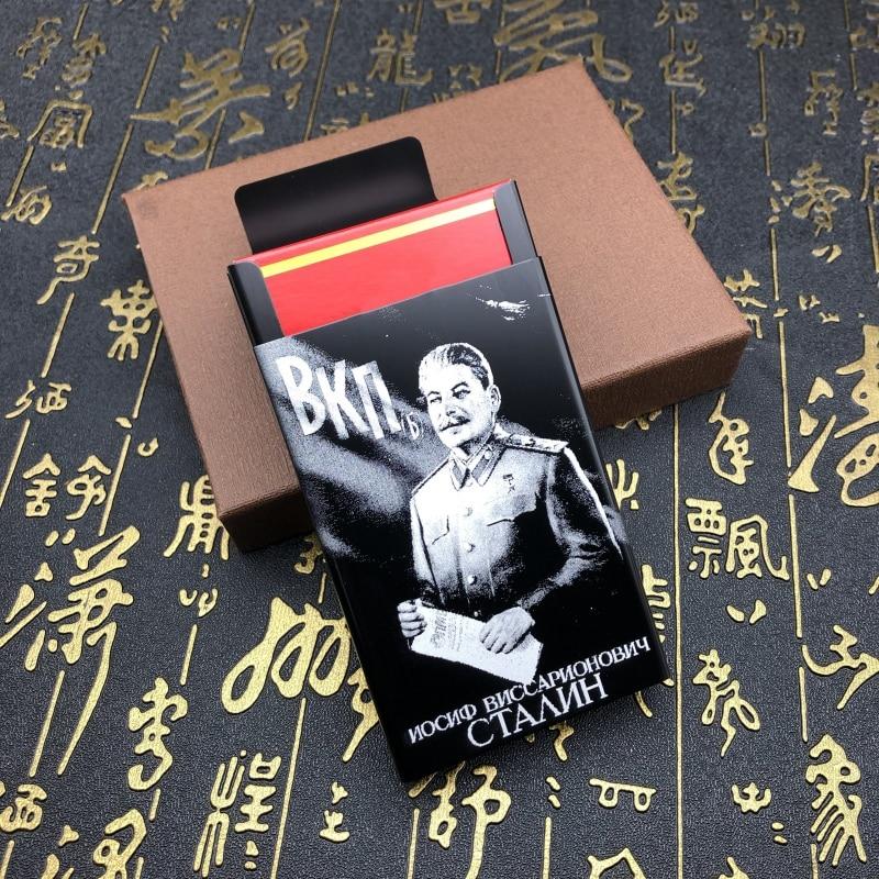 Personalized Joseph Vissarionovich Stalin Aluminium Alloy Beauty Cigarette Case Laser Carved Will Not Fade Smoking Cigarette Box