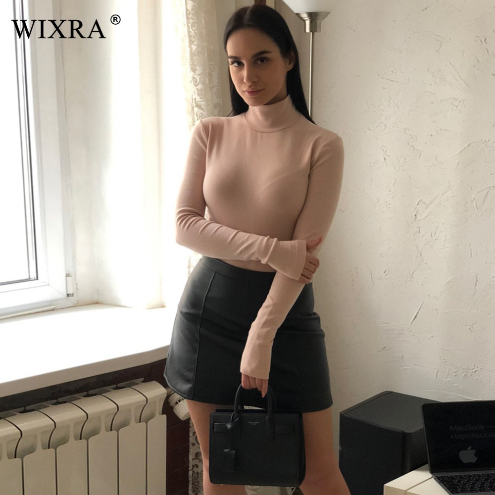 WIXRA Basic Turtleneck Bodysuits Women Body Feminino Celmia <font><b>Sexy</b></font> <font><b>Jumpsuits</b></font> <font><b>2018</b></font> Romper Long Sleeve Blouse Bodycon Playsuit image