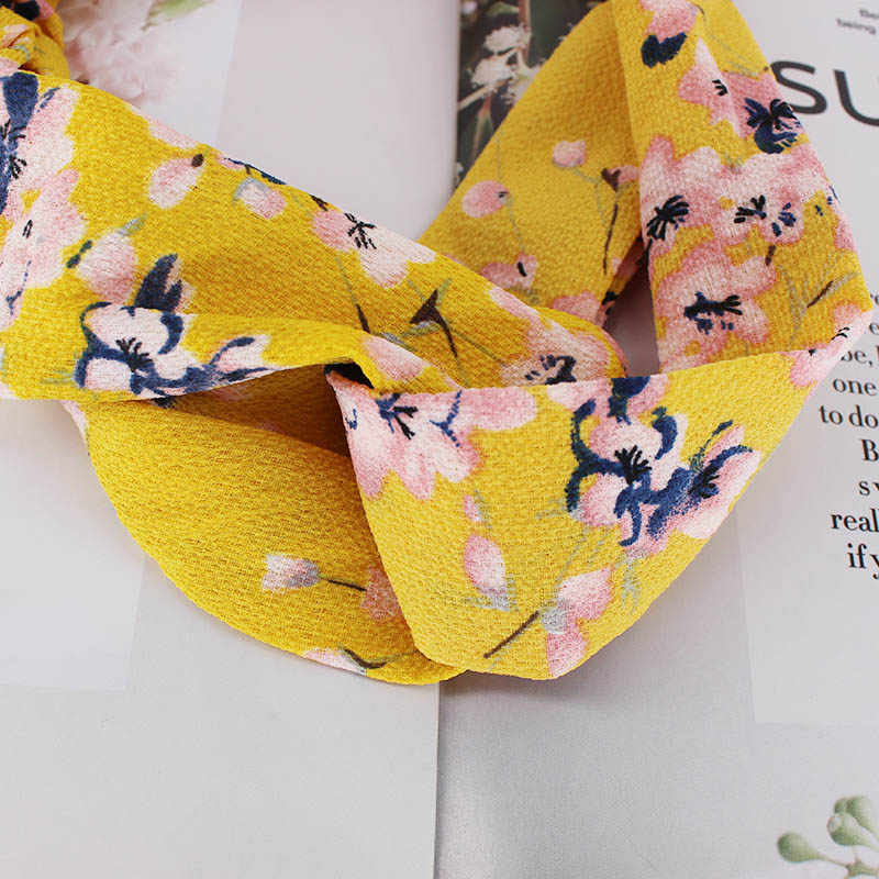 Women's Fashion Spring Summer Chiffon Headbands Floral Flamingo Wide Bands Turban Headwear Headwrap New Hair Accessories
