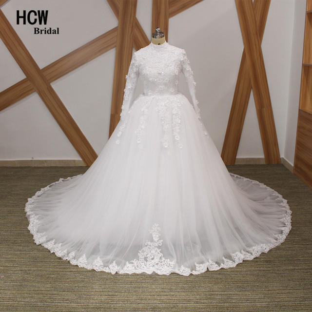 High Neck Long Sleeve Wedding Dress 2018 Graceful Flowers Tull Lace Ball Gown Muslim Dresses