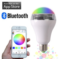 Free Shipping RGBW Wireless LED Bluetooth Speaker Bulb Audio Speaker Music Playing Lighting With APP