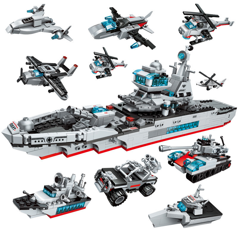 8in1 700pcs Children s educational building blocks toy Compatible city Military series Ocean cruiser andaircraft carrier