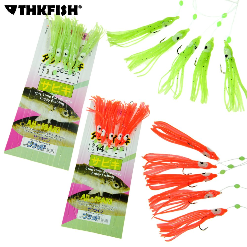 50pcs (10 Packs) Freshwater Saltwater Glow and Red Squid Jig Sabiki Fishing Bait Rigs Hooks With Snap Connector Fishing Lure 10 packs 60pcs 10 20 freshwater saltwater sabiki rigs sea fishing sabiki fish skin baits rigs fishing lures